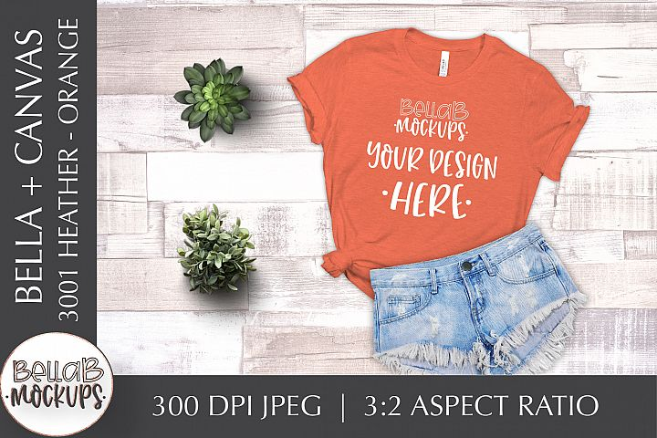 Bella Canvas 3001 Heather Womans T Shirt Mockup, Orange