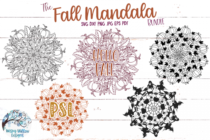 Fall Mandala SVG Bundle | Pumpkin Mandala SVG Cut Files