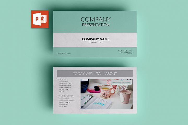 PPT Template | Company Presentation - Green and Marble