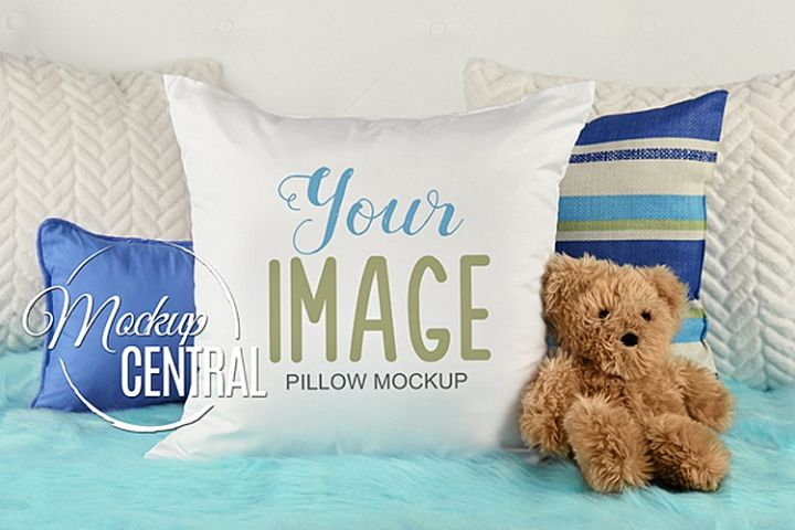 Blank White Square Mockup Child Baby Bedroom Pillow JPG