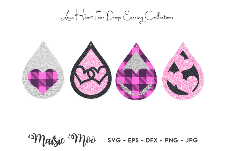 Valentine Earring Templates | Love Heart Earring SVG