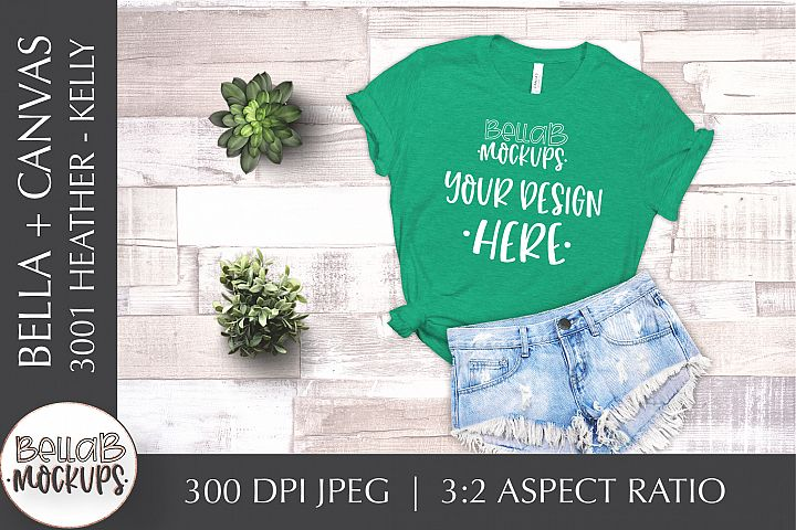 Bella Canvas 3001 Heather Womans T Shirt Mockup-Kelly Green