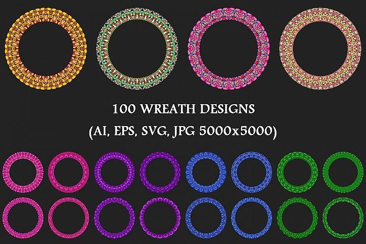 100 Stone Mosaic Wreaths - AI, EPS, SVG, JPG