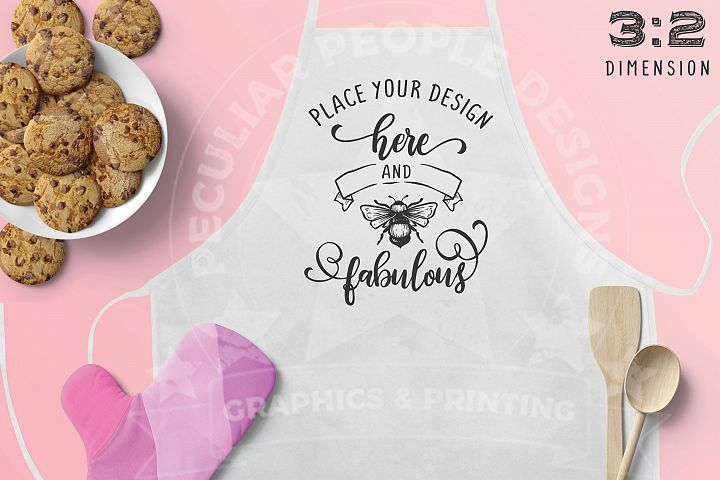 3x2 Cute Blush Pink Kitchen Apron Mockup with cookie