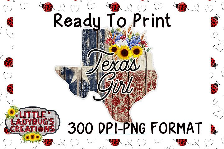 Texas Girl 300DPI PNG Printable Digital Design