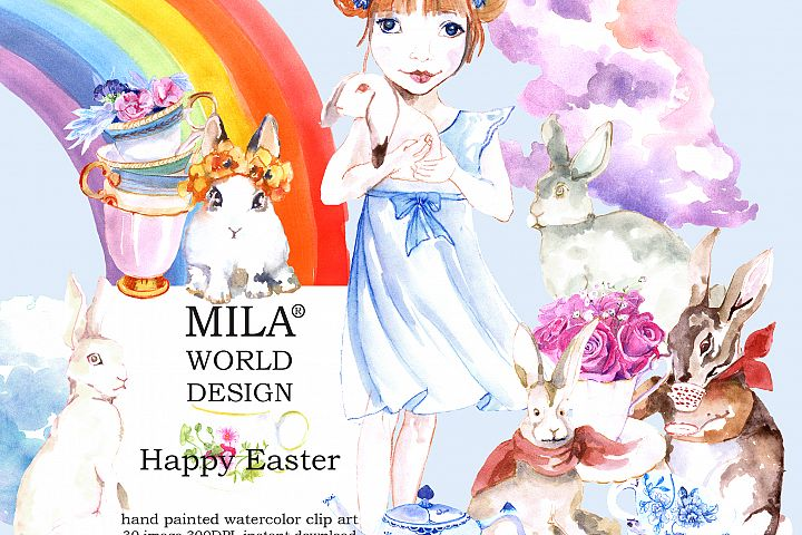 Watercolor Easter  Bunny clipart