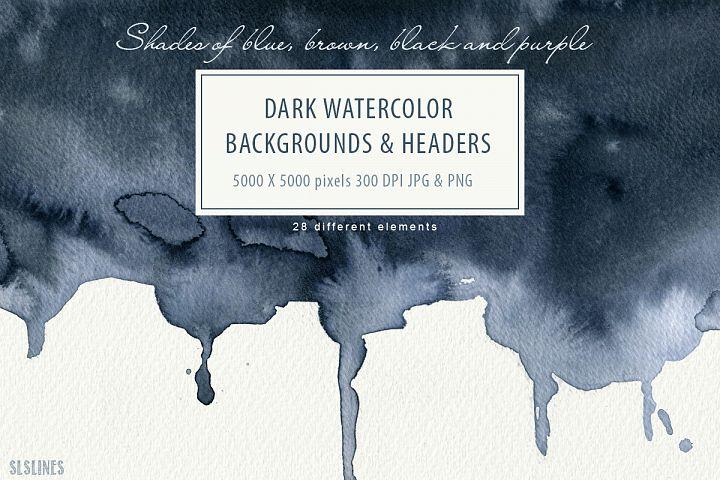 Dark Watercolor Backgrounds & Headers