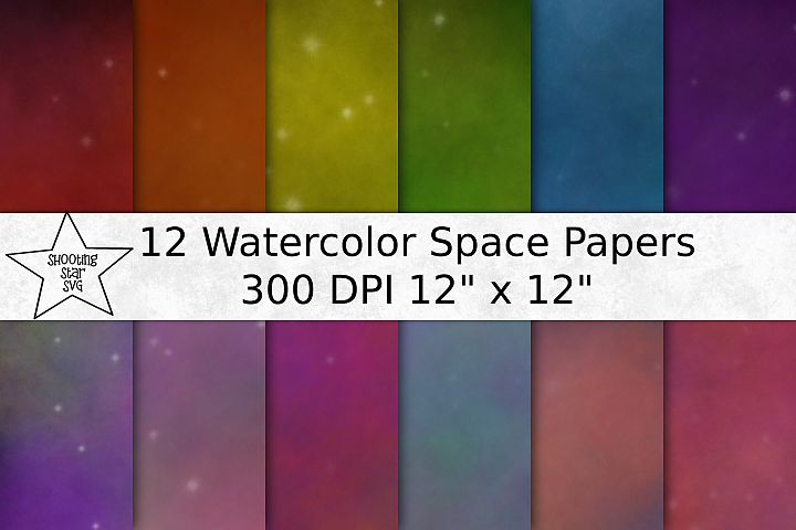 Water Color Space Galaxy Digital Paper - Digital Background