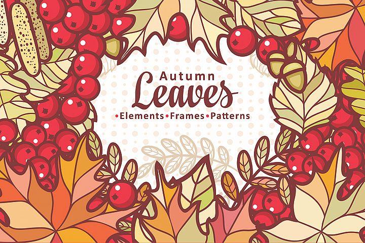 Autumn leaves. Cute cartoon elements