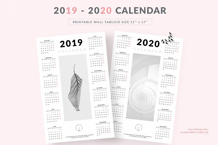 Minimalist One Page Wall Calendar 2019-2020