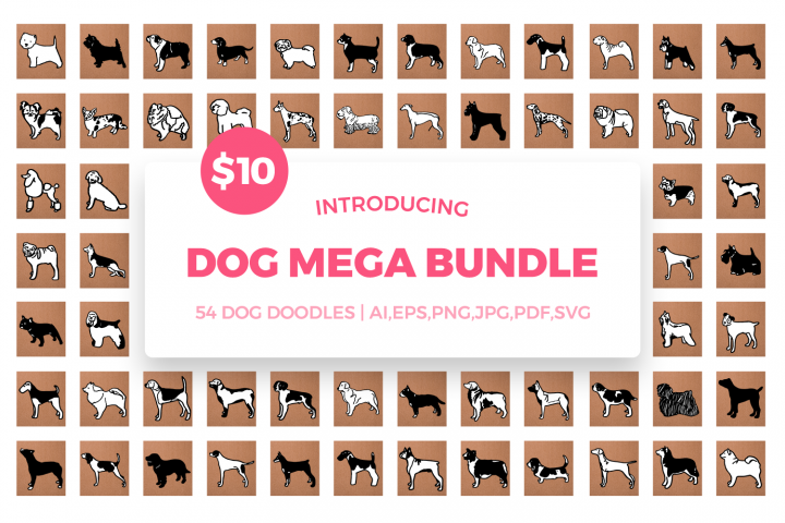 Dog Mega Bundle SVG Cut Files - 54 Dog Breeds Doodles