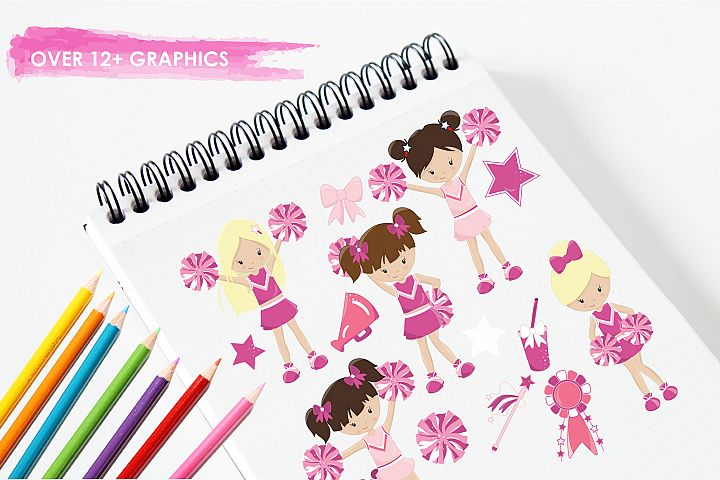 Cheerleaders graphics and illustrations - Free Design of The Week Design 2