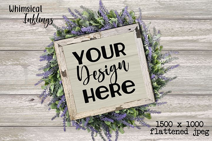 Lavender Wreath Sign Mock Up