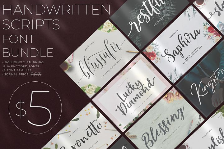 Handwritten Scripts Font Bundle From Great Studio