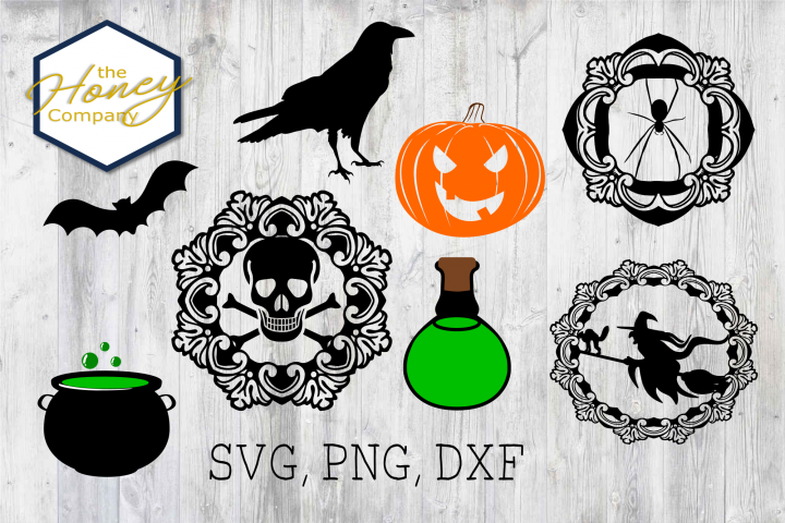 Halloween Set SVG PNG DXF Spider Bats Skull Potion Witch