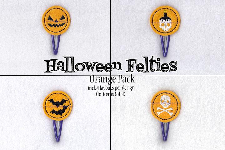 Halloween ITH Orange Set of 4 Embroidery Designs