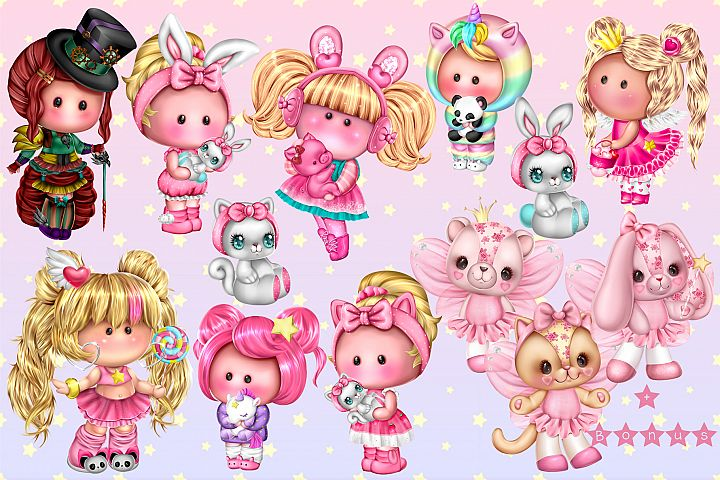 Cute little Pummy dolls and animals
