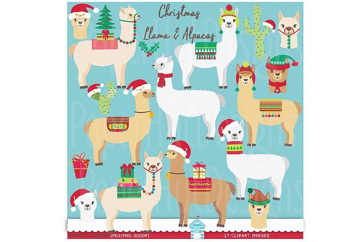 Christmas Llama and Alpaca Clipart