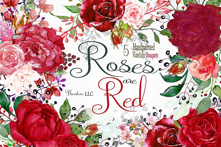 Red roses watercolor bouquet clipart, English Roses