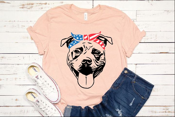 Pit bull USA Flag Bandana mask 4th July pitbull 1393S