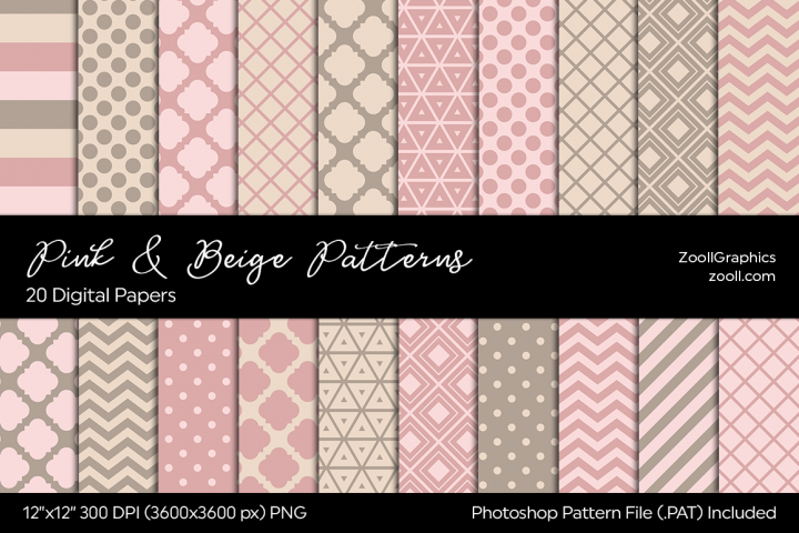 Pink And Beige Digital Papers