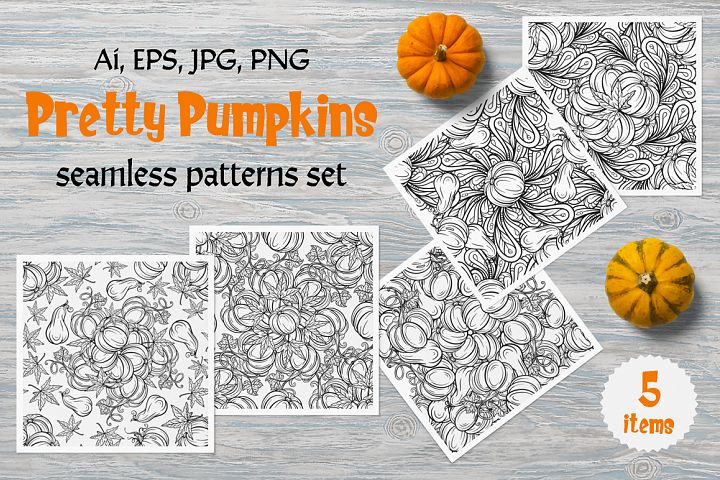 Pretty Pumpkins seamless patterns set