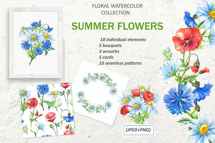 SUMMER FLOWERS.WATERCOLOR.