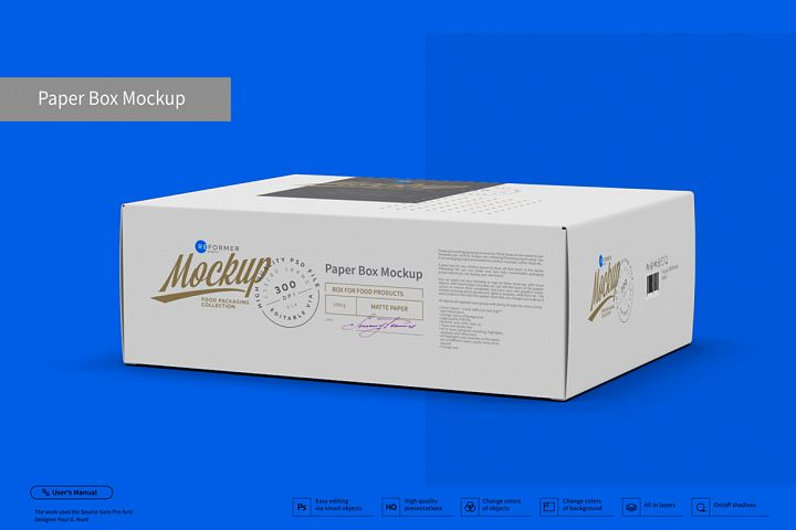 Paper Box Mockup Half Side View