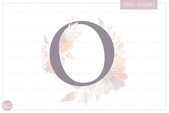 Letter O Floral MONOGRAM - elegant wedding flower initial
