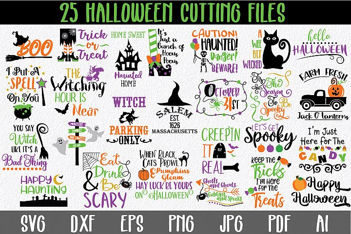 Halloween SVG Bundle with 25 SVG PNG DXF EPS JPG Cut Files
