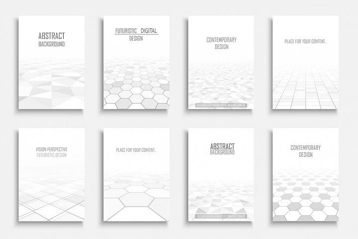 White futuristic geometric covers