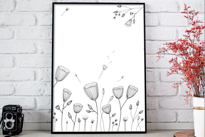 Black Doodle Flowers Illustration, A1, SVG