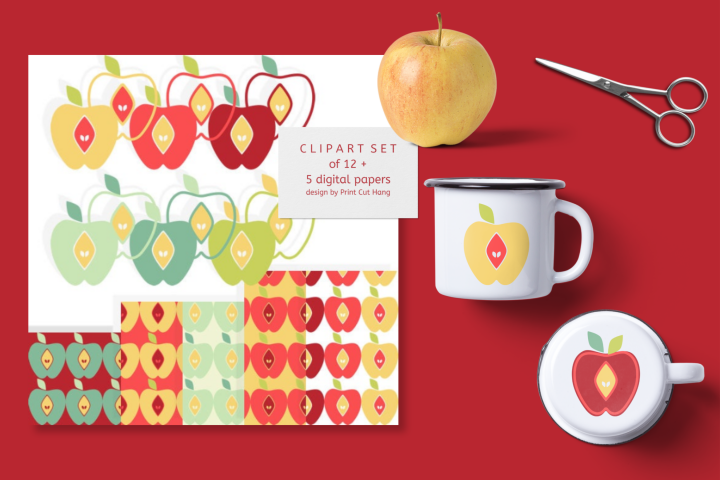 Apples Clipart Set with Matching Digital Collage Sheets PNG