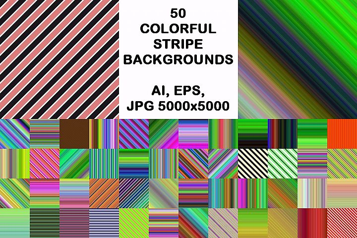 50 colorful stripe backgrounds (AI, EPS, JPG 5000x5000)