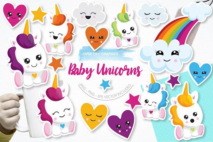 Baby Unicorns graphics and illustrations