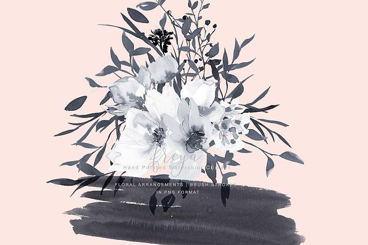 Elegant Gray & White Rose Bouquet Clipart