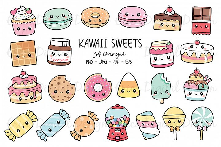 Kawaii Sweets clipart set - 34 cute food images