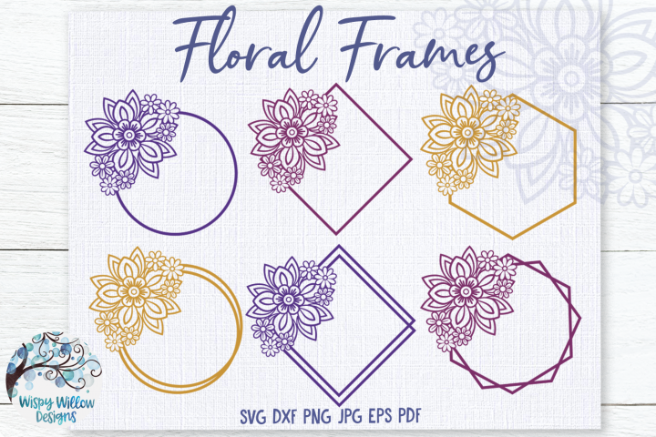 Floral Frames SVG Bundle | Monogram Frame SVG Bundle
