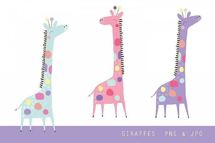Giraffe - Fun Bright giraffe clip art illustrations