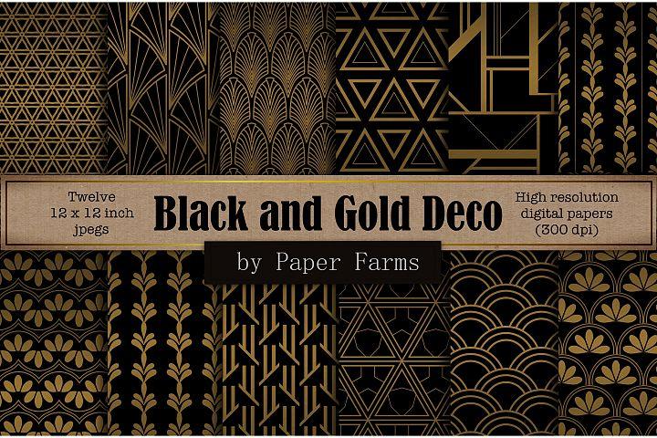 Black gold Art Deco backgrounds