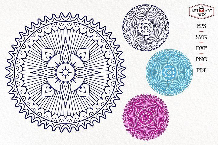Mandala boho for cutting. Contour, silhouette.