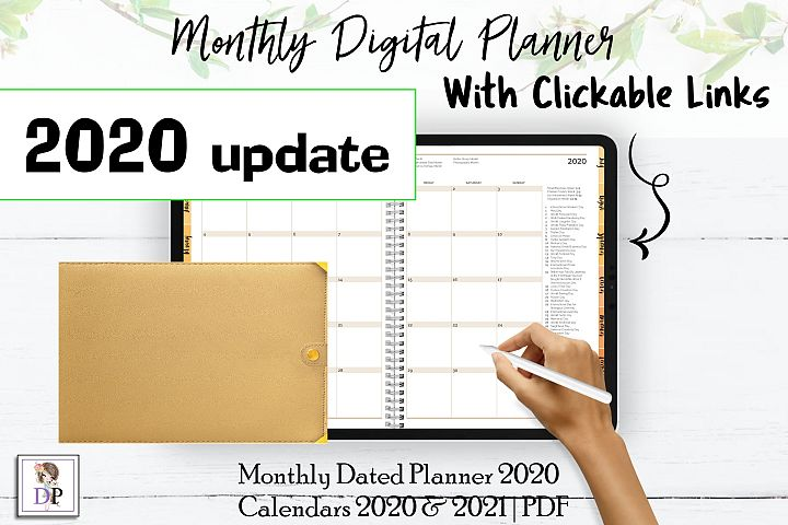 Monthly Dated DIGITAL Planner 2020 Brown PDF CLICKABLE link