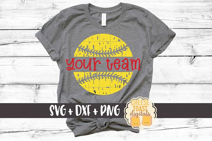 Distressed Softball Team Monogram - Softball SVG PNG DXF