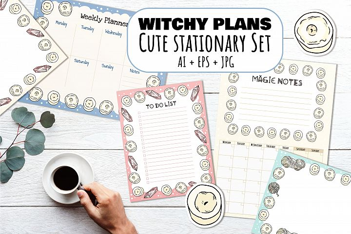 Witchy Plans Cute Stationary Set