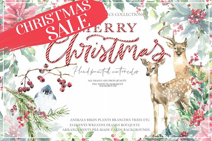 Christmas Watercolor Animals Vintage Woodland animal clipart
