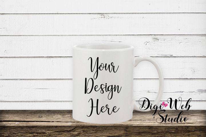 Coffee Cup Mockup - Coffee Mug w/ White Rustic Shiplap