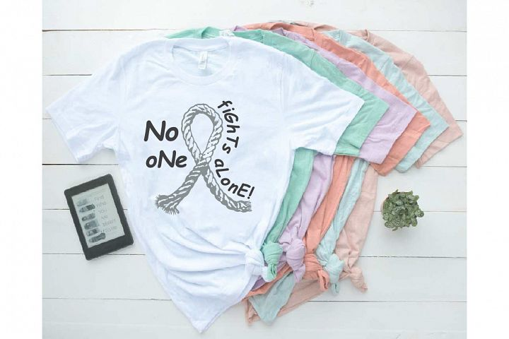 No One Fights Alone Ribbon Rope Brain Cancer Awareness Tumor