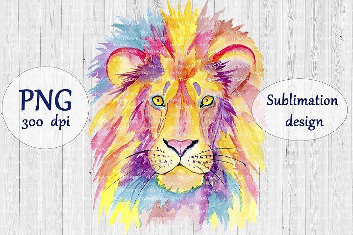 Watercolor Lion - PNG Sublimation Design - Colorful Animals
