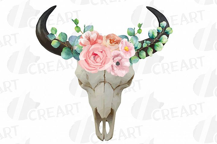 Watercolor blush floral eucalyptus Bull Skull clip art