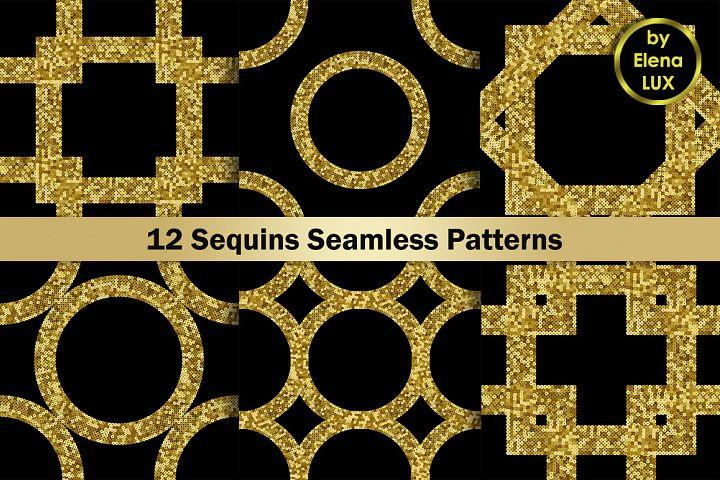 Gold Sequins Seamless Patterns Set